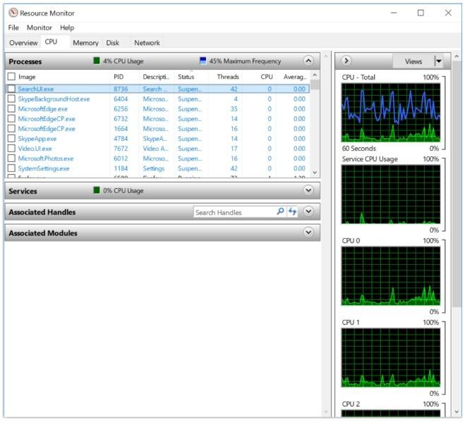 Program Resource Monitor (slika 1)