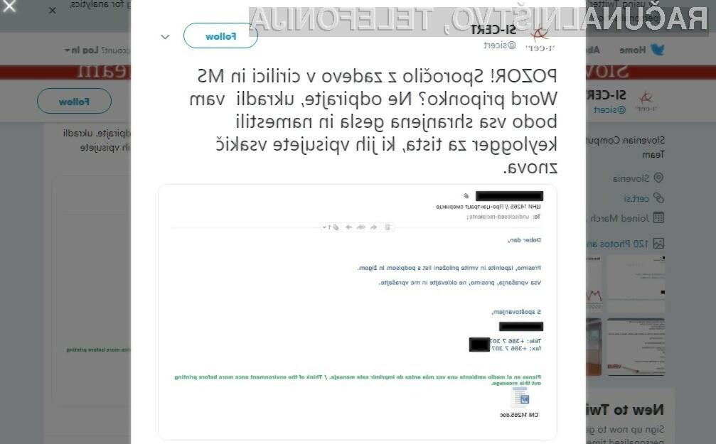 Na twitterju objavljeno opozorilo Nacionalnega odzivnega centra za kibernetsko varnost.