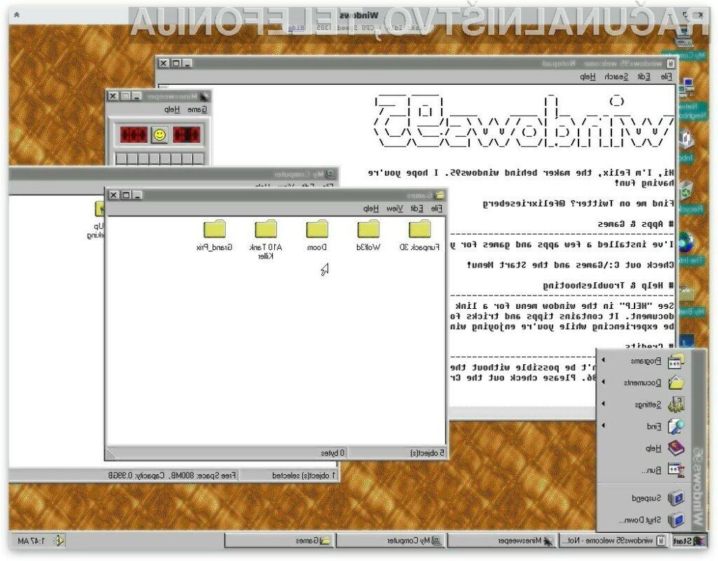 Windows 95 2.0 se vam bo zagotovo prikupil.