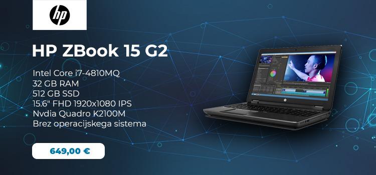 HP ZBook 15 G2 Mobile Workstation, ki je na voljo v spletni trgovini pocenipc.com, je izredno zmogljiva delovna postaja z 39,6-centimetrskim zaslonom Full HD IPS (1920×1080).