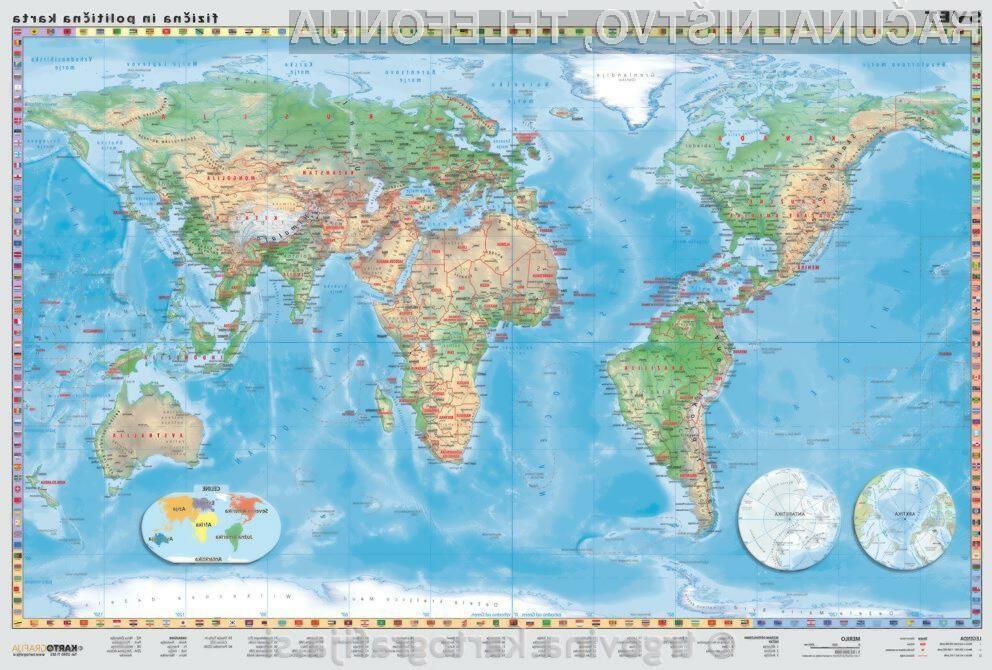 Svet - mala stenska karta 100x70