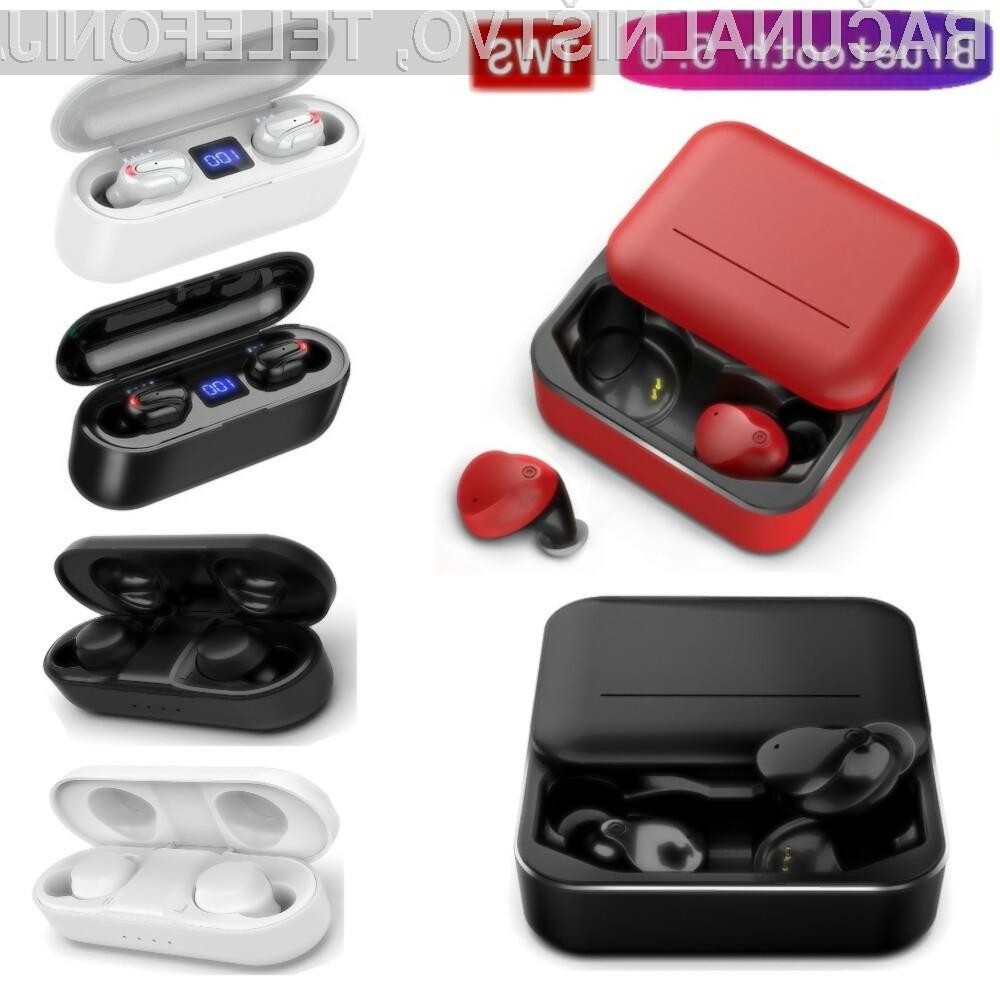 Poceni miniaturne brezžične slušalke z zmogljivo polnilno škatlico