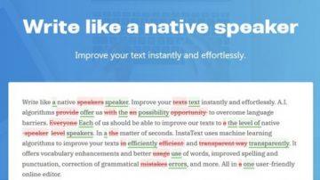 Orodje za samodejno izboljševanje besedil na www.instatext.io.