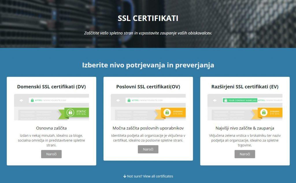 S SSL cerifikatom bodo vaši spletni strani končni uporabniki bolj zaupali.
