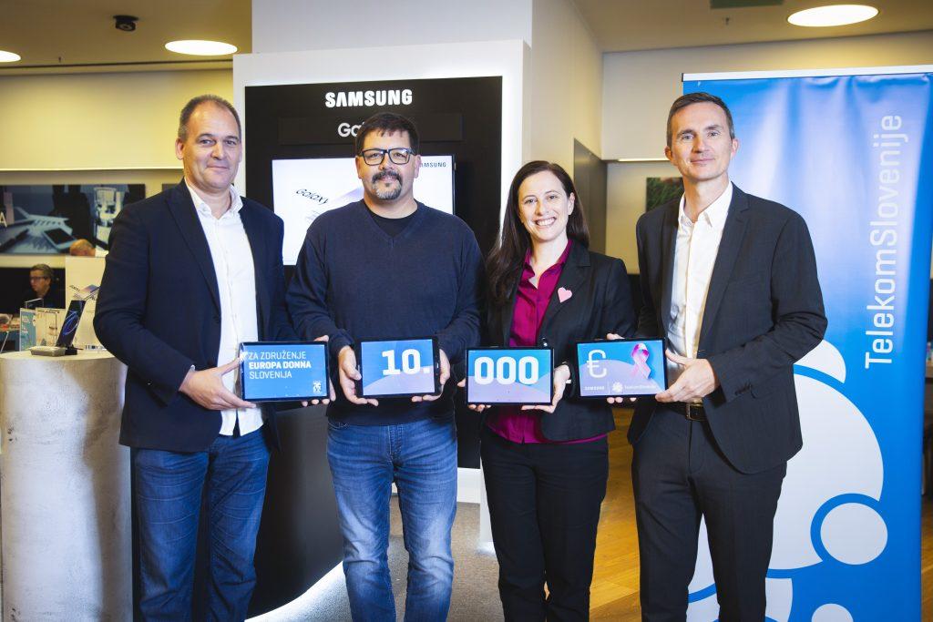 Telekom Slovenije in Samsung sta Slovenskemu združenju Europa Donna predala donacijo v višini 10.000 evrov