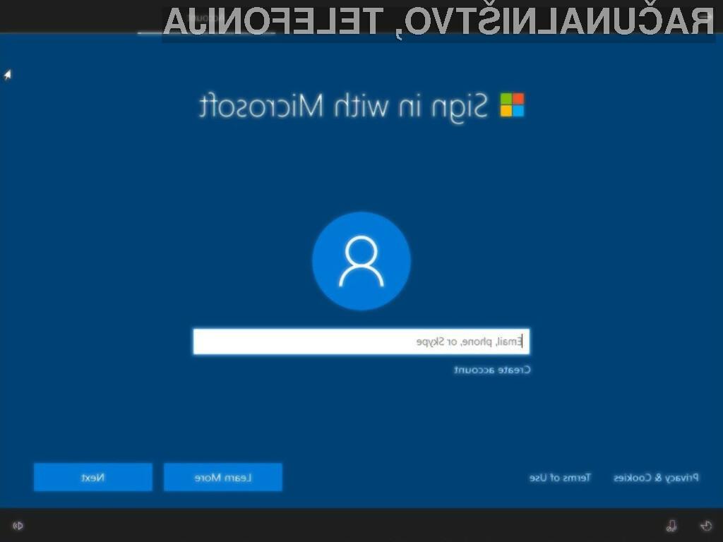 Microsoft ne želi, da novi Windows 10 home uporabljamo brez Microsoftovega spletnega računa.