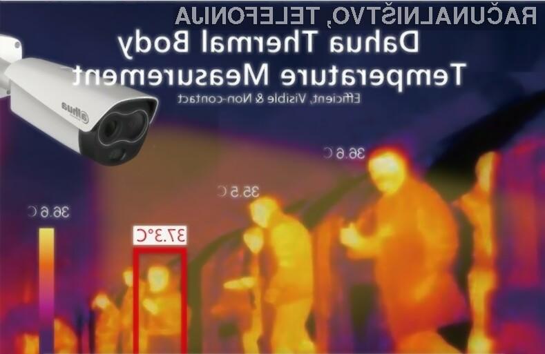 Termalna kamera podjetja Dahua deluje tako, da lahko na daljavo izmeri telesno temperaturo mimoidočega.