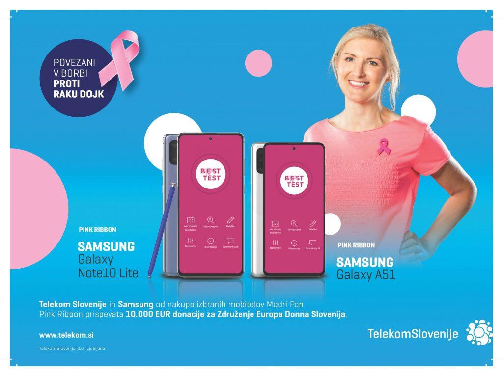 V rožnatem oktobru tudi letos Telekom Slovenije in Samsung s posebno serijo mobitela za donacijo Združenju Europa Donna