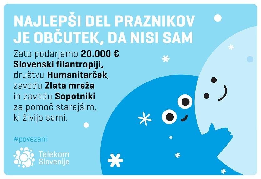 Telekom Slovenije z donacijo v višini 20.000 evrov pomaga starejšim, ki živijo sami