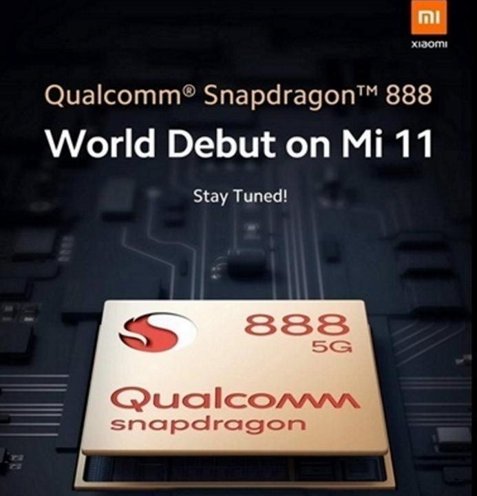 Pametni mobilni telefon Xiaomi Mi 11 bo prvi, ki bo opremljen s procesorjem Snapdragon 888 podjetja Qualcomm.