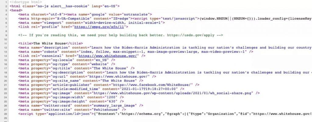 Spletna stran Bele hiše s skritim sporočilom