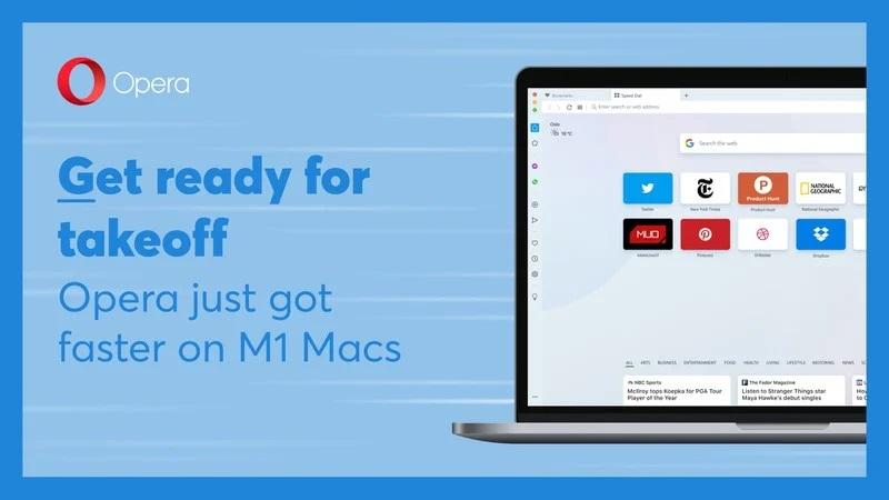 Spletni brskalnik Opera deluje dvakrat hitreje na osebnih računalnikih Apple M1.