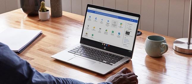 Prenosni računalnik HP Chromebook Pro c640 G2 poganja operacijski sistem Chrome OS.