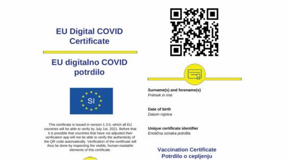 Digitalno COVID-19 potrdilo je že na voljo