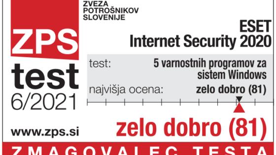 Protivirusni program ESET Internet Security 2020 je kot edini na testu pridobil oceno zelo dobro v vseh treh kategorijah.