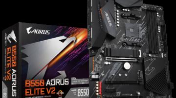 Gigabyte B550 AORUS Elite V2 deluje na podnožju AM4, kar pomeni, da podpira izključno AMD procesorje, med njimi tudi najnovejšo družino Ryzen 5000.